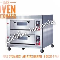 Gas oven roti kue 2 dek 4 loyang full otomatis api atas bawah