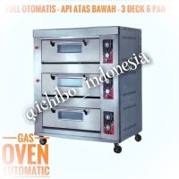 Gas oven roti kue 3 dek 6 loyang full automatic api atas bawah
