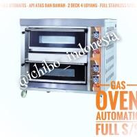 Gas oven roti kue 2 dek 4 loyang full otomatis full stainless steel