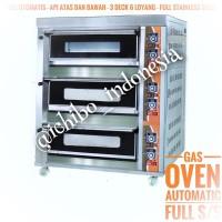 Gas oven roti kue 3 dek 6 loyang full otomatis full stainless steel
