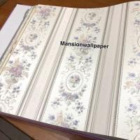 Harga wallpaper dinding murah garis salur bunga shabby ungu | HARGALOKA.COM