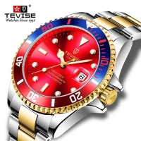 Jam Tangan Pria Tevise Submariner Automatic Stainless Steel Dial Red