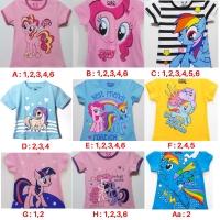 Kaos Anak Perempuan Kuda Poni Pink Biru Size 1-6 Tahun