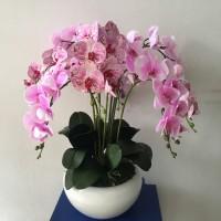 Rangkaian Bunga Anggrek Palsu Bahan Premium