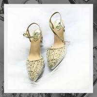 851: Jelina Silver on 7cm Block heel & 2cm platform. Only size 39