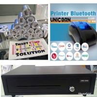 PAKET 2C KASIR ANDROID (Cash drawer, Printer Bluetooth, Kertas Struk)