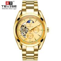 Jam Tangan Pria Automatic Movement Original Tevise All Gold Luxury