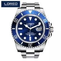 Jam Tangan Homage Rolex Submariner Loreo Automatic Diver Silver Blue