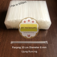 Sedotan Steril Bungkus Plastik Lurus Runcing 6mm isi 500pcs - BENING