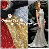 Kain Tulle sequin/bahan busana wanita gaun,long dress dll.