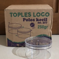 Toples Kue Kering/ Nastar /Bahan Mika - Merk Logo - Polos Rata - 250gr