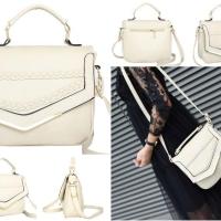 tas selempang kulit leather putih susu rice white wanita korea import