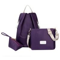 tas ransel resleting fashion korea modis murah ungu biru merah murah