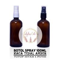 Botol Spray 100ml Kaca Amber - Tutup Putih
