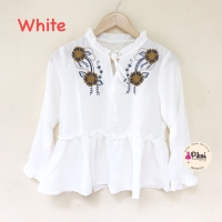Baju bordir bunga / bohemian top / boho crop top / atasan hitam putih