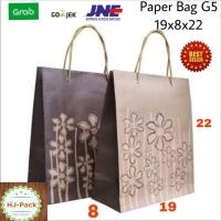 Paperbag Motif Bunga Coklat 19x8x22 Tas Kertas Goodiebag Shopping Bag