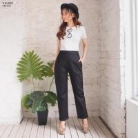 Celana panjang wanita fit L bahan mosscrepe tebal hitam
