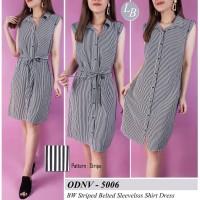 BBJ05201 OldNavy BW Striped Belted Sleeveless Shirt Dress