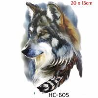 Wolf temporary tattoo - tato sementara HC 605