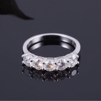 Cincin moissanite asli bersertifikat 4mm/ 3 carat .platinum silver