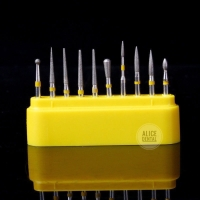 10 pcs Dental Diamond Burs Kuning finishing / polishing kit + kotaknya