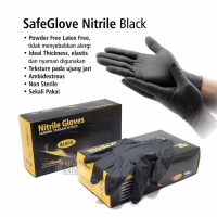 Alicedental Black Gloves Sarung tangan Hitam Nitrile no powder isi 100