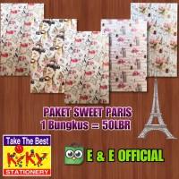 PAKET KERTAS KADO KIKY SWEET PARIS (50 LEMBAR) MURAH !!