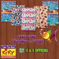 PAKET KERTAS KADO KIKY CAKE / BURUNG / IKAN (50LBR) MURAH !!