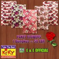 PAKET KERTAS KADO KIKY RED FLOWERS / BUNGA (50LBR) MURAH !!!