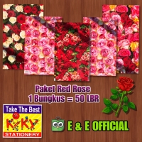 PAKET KERTAS KADO KIKY RED ROSE / BUNGA MAWAR (50LBR) MURAH !!