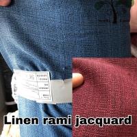 bahan kain rami linen jaquard polyester polos meteran / grosir limited