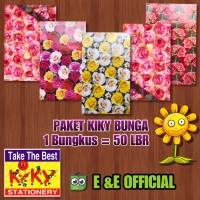 PAKET KERTAS KADO KIKY BUNGA ROSE / FLOWER / BUNGA (50LEMBAR)