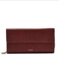 Dompet Wanita FOSSIL ORIGINAL Jori RFID Flap Clutch Cabernet Wallet