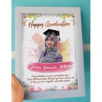 Edit foto ilustrasi cetak+bingkai desain custom lucu murah kado wisuda