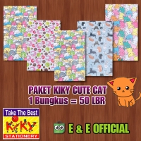 PAKET KERTAS KADO KIKY CUTE CATS / KADO KUCING (50 LEMBAR) TERMURAH