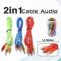 Kabel Aux 2 ke 1 Jek Audio 3.5mm ke RCA