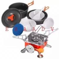 Paket Kompor Outdoor Kotak Portable Mini & Cooking Set Nesting DS 200