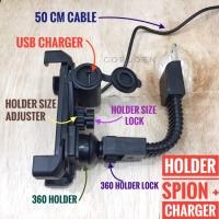 Holder HP Motor Spion 7,5 inci + USB Charger Slot GPS Gojek Grab