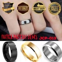Cincin Pria Titanium Black Silver Gold Polos Simple Elegan JCP-013