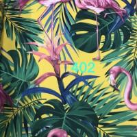 Wallpaper Dinding Motif Flamingo Kuning Hijau Biru