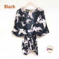 Cardigan kimono belt / cardigan burung bangau summer outer tali bunga