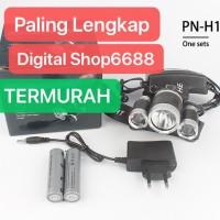 PAKET Headlamp Cree XML- T6 5000 Lumens Senter Kepala 18650 + Charger