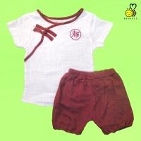 Puffy Chongsam Maroon~ Baju Anak Cowok Lucu Kemeja Celana gembung