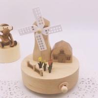 Wooden music box kotak musik kayu kincir angin