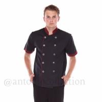 Baju Koki / Chef Hitam Dove List Merah Maroon