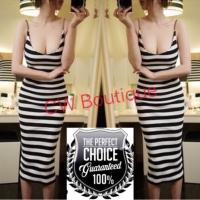 Long Dress Hitam Putih Garis Stripe Tanktop Stretch Sexy (AF D 01B)