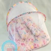 Sleeping Bed Baby Set dengan Kelambu (1 bantal & 2 Guling)