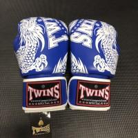 Twins Glove 10oz Motif blue - white / Muaythai dan boxing glove