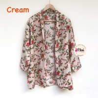 Cardigan panjang / cardigan summer / floral outer / luaran bunga satin