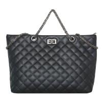tas tote bag bahu hitam black kulit leather timbul besar wanita improt